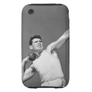 Man Throwing Shotput Tough iPhone 3 Cases