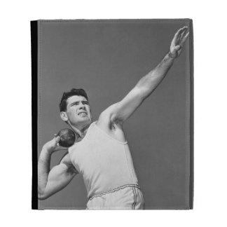 Man Throwing Shotput iPad Folio Covers