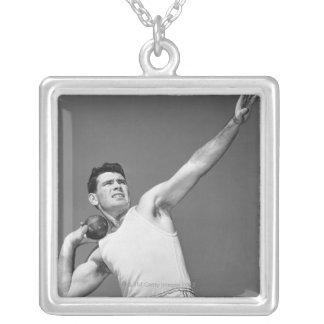 Man Throwing Shotput Custom Necklace