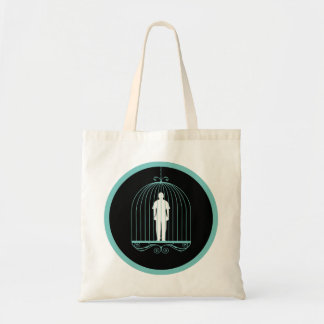 Man trapped in bird cage. tote bag