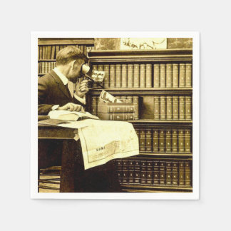 Man Viewing Stereoview Cards Vintage Paper Napkin