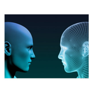 Man vs Machine Competing in the Future Postcard