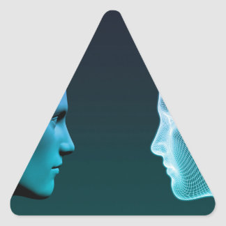 Man vs Machine Competing in the Future Triangle Sticker