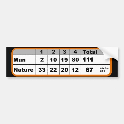 Man vs Nature Basketball Scoreboard Bumper Sticker Car Bumper Sticker