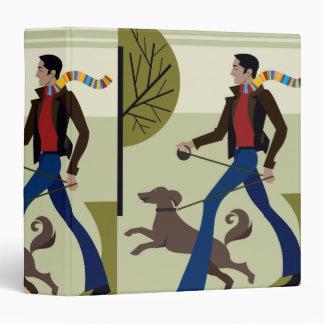 man walking dog in fall notebook 3 ring binder