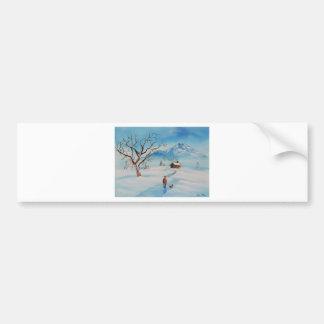 Man walking dog in snow winter mountain scene bumper sticker