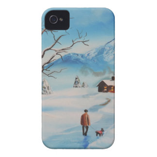 Man walking dog in snow winter mountain scene iPhone 4 cases