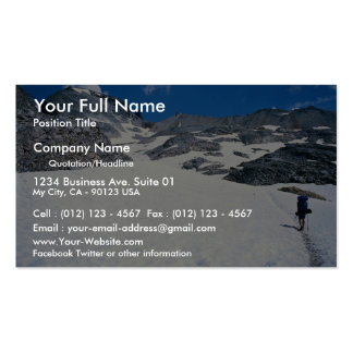 Man walking in snow, Col du Fromage, Alps, France Double-Sided Standard Business Cards (Pack Of 100)