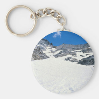Man walking in snow, Col du Fromage, Alps, France Keychains