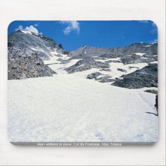 Man walking in snow, Col du Fromage, Alps, France Mouse Pad