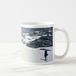 Man walking in snow, Col du Fromage, Alps, France Classic White Coffee Mug