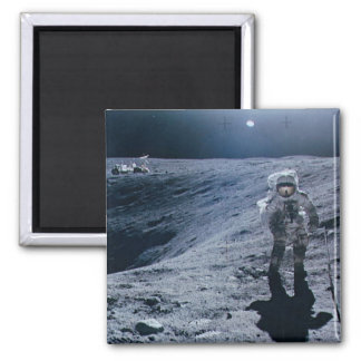 Man Walking on Moon 2 Inch Square Magnet
