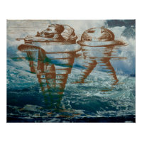 Man walking on the water in a steampunk machine poster