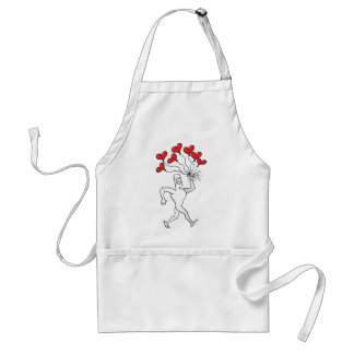 Man Walking with Heart Balloons Adult Apron