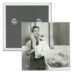 Man Washing Dishes Button