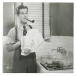 Man Washing Dishes Ceramic Tile