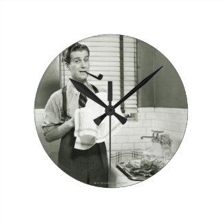 Man Washing Dishes Round Wall Clock