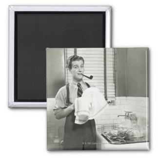 Man Washing Dishes Magnet