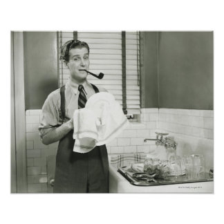 Man Washing Dishes Posters