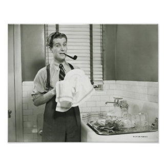Man Washing Dishes Poster