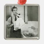 Man Washing Dishes Square Metal Christmas Ornament