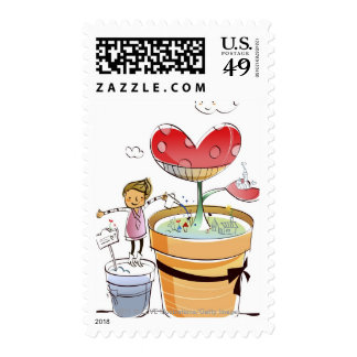Man watering a potted plant stamp