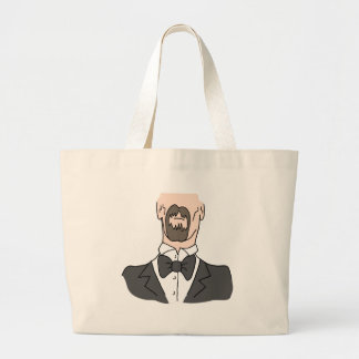 Man wearing a bow tie large tote bag