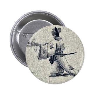 Man wearing a sokutai,a long ceremonial robe 2 inch round button