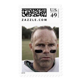 Man wearing American football kit, high section, Stamps