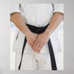 Man wearing karate black belt print