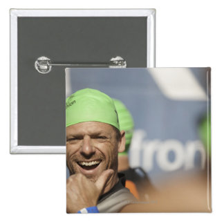 Man wearing swimming cap at starting line of Los 2 Inch Square Button