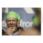 Man wearing swimming cap at starting line of Los Card