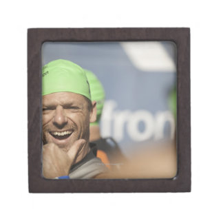 Man wearing swimming cap at starting line of Los Jewelry Box