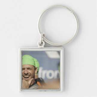 Man wearing swimming cap at starting line of Los Keychain