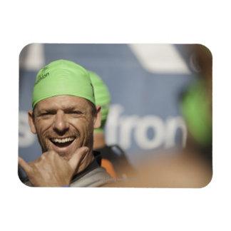 Man wearing swimming cap at starting line of Los Magnet
