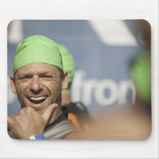 Man wearing swimming cap at starting line of Los Mouse Pad