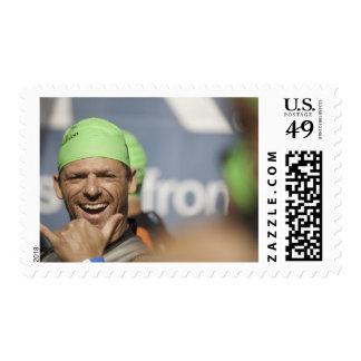 Man wearing swimming cap at starting line of Los Stamp