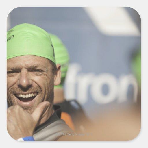 Man wearing swimming cap at starting line of Los Square Sticker