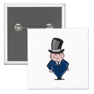 Man Wearing Top Hat Smiling Cartoon Badges