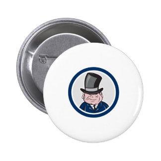 Man Wearing Top Hat Smiling Circle Cartoon Pinback Buttons