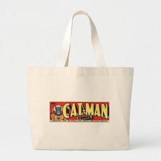 Man who Fancies Cats Banner Large Tote Bag