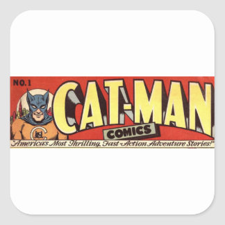 Man who Fancies Cats Banner Square Sticker