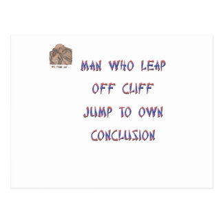 Man who leap off cliff jumps to own conclusion postcard