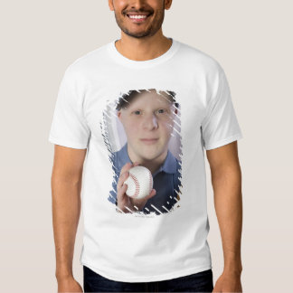 Man with a baseball glove and a baseball shirt