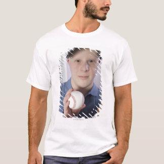 Man with a baseball glove and a baseball T-Shirt