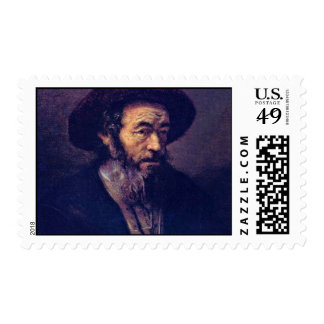 Man With A Beard. By Follower Of Rembrandt Postage Stamps