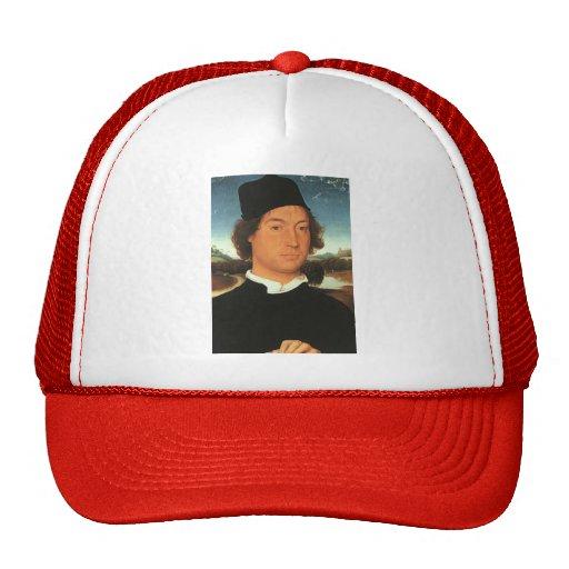 Man with a black cap   by Hans Memling Trucker Hat