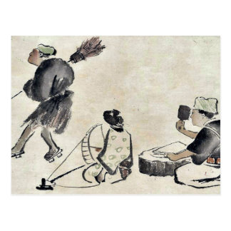 Man with a broom, wearing geta postcard