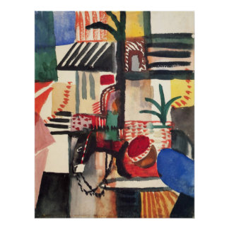 Man with a donkey by August Macke Poster