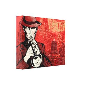 Man with a horn canvas print